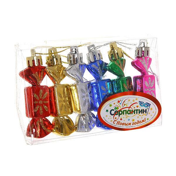 Ёлочные игрушки, набор 6шт, 7,5см ″Конфетки мини″ микс купить оптом и в розницу