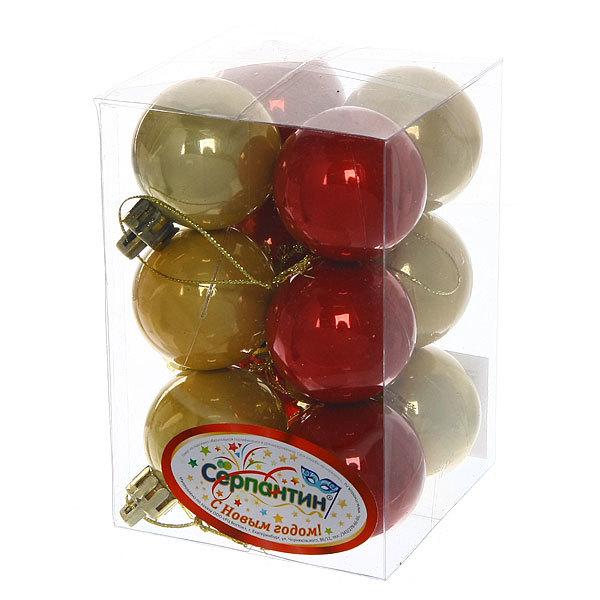 Новогодние шары 4 см ″Жемчуг″ набор 12 шт, красный с золотом купить оптом и в розницу