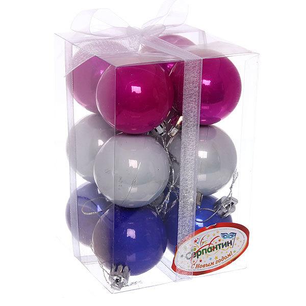 Новогодние шары 5 см ″Блеск″ набор 12 шт, синий, розовый, серебро купить оптом и в розницу