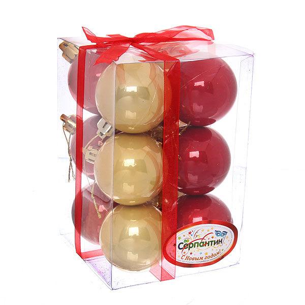 Новогодние шары 5 см ″Блеск″ набор 12 шт, красный, золото купить оптом и в розницу