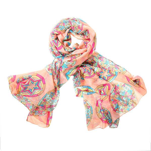 Палантин женский ″Звезды″, цвет персиковый, 100*180см купить оптом и в розницу