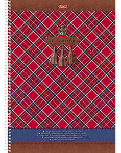 """Тетрадь 100л.кл.спираль HATBER """"Шотландка"""", с карманом, выб.лак купить оптом и в розницу"""