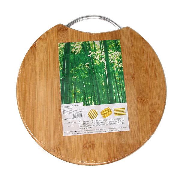 Доска разделочная из бамбука с ручкой из металла круглая 28*1,7 см купить оптом и в розницу