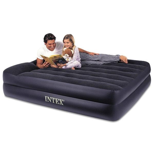 Кровать надувная Pillow Rest Raised,152*203*47 см,встроенный насос 220В, Intex (66702) купить оптом и в розницу