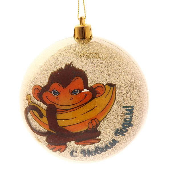 Новогодний шар ″Обезьянка с бананом″ 8см купить оптом и в розницу