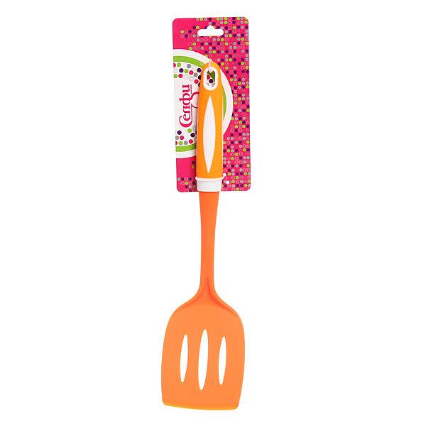 ″Апельсин″ Лопатка кухонная узкая с прорезями пластиковая Н-3023 Селфи купить оптом и в розницу