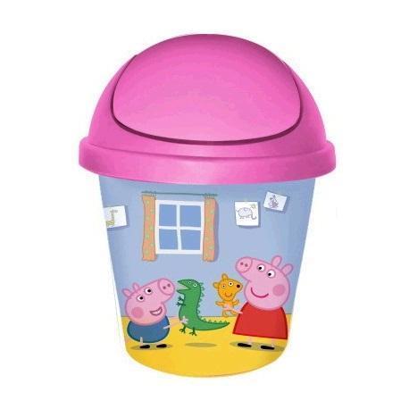"""Детская мусорная корзина круглая 7л. """"Свинка Пеппа"""" розовый*10 купить оптом и в розницу"""