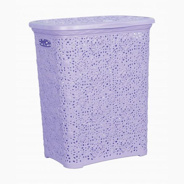 Кружевная корзинка для белья   сирень  (412 х 320 х 485 )  40 л.*6 купить оптом и в розницу