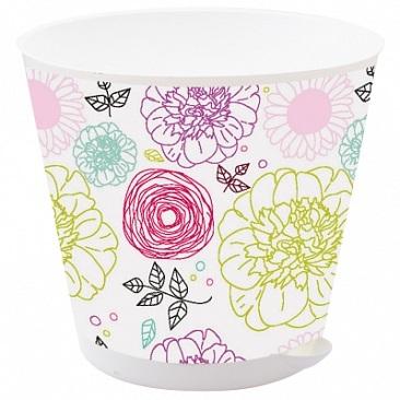 Горшок для цветов Крит D 120 mm с системой прикорневого полива 0,7л Пионы *16 купить оптом и в розницу