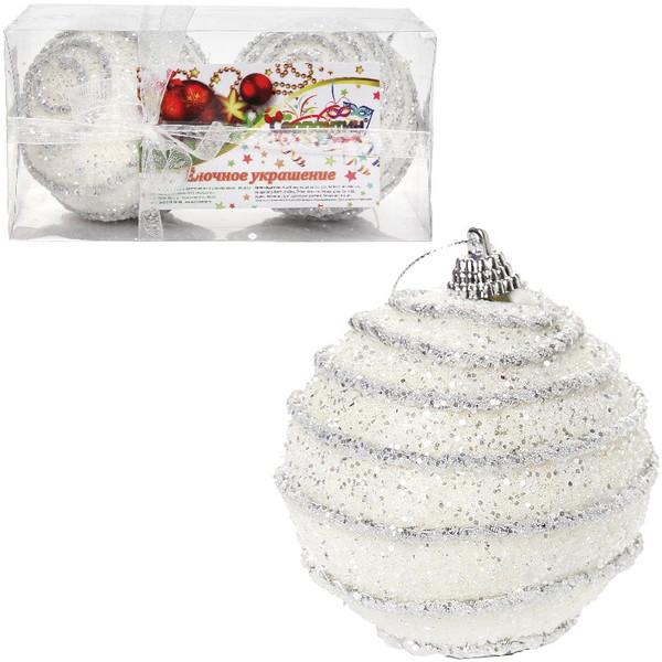 Новогодние шары ″Снежные вихри″ 8см (набор 2шт.) купить оптом и в розницу