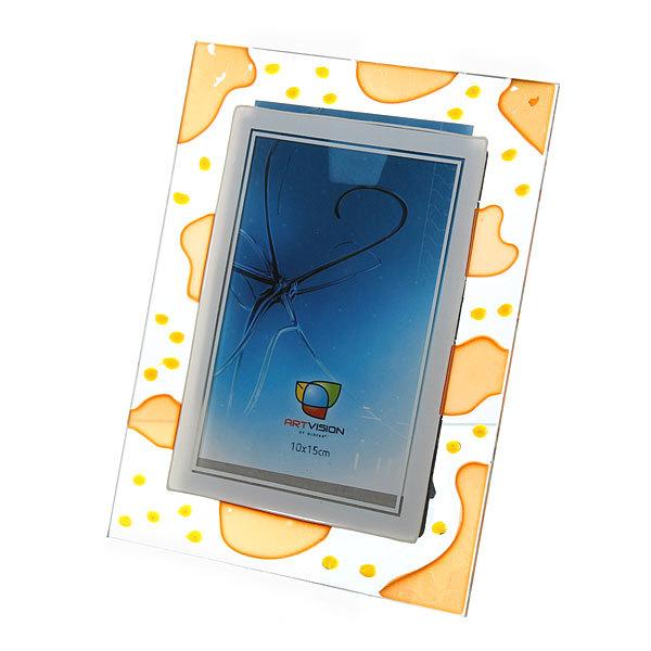 Фоторамка 10*15 стекло витраж прозрачный с оранжевыми пятнами/6107 купить оптом и в розницу