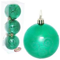 Новогодние шары 7 см (набор 3 шт) ″Рельефный узор″, зеленый купить оптом и в розницу