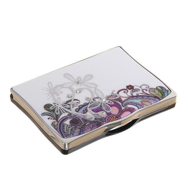 Зеркало косметическое в коробочке ″Изабель - узор из цветов″ прямоугольник купить оптом и в розницу