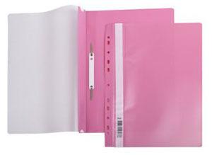 Папка-скоросшиватель A4 Hatber 140/180 мкм розовая, пластик, с перфорацией, прозр.верх купить оптом и в розницу