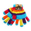 Перчатки женские ″Яркие полоски″ двойные 702-3 купить оптом и в розницу