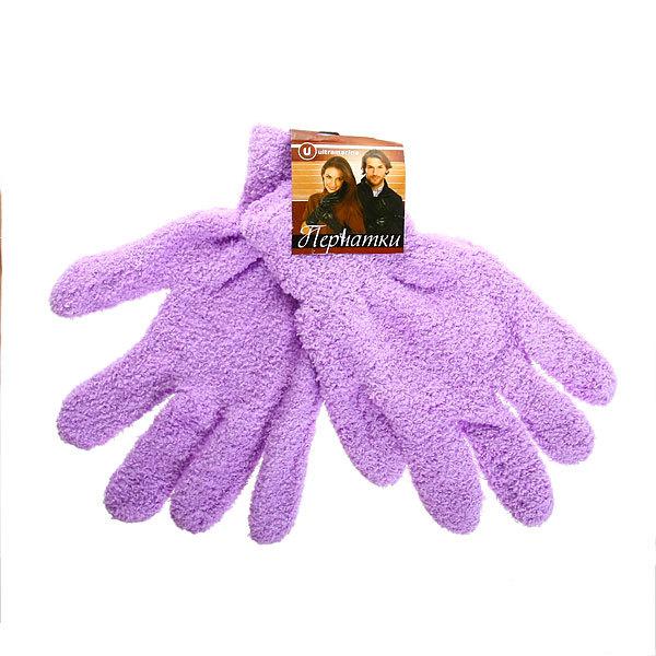 Перчатки махровые ″Зимушка″ цвет фиолетовый h-21см купить оптом и в розницу
