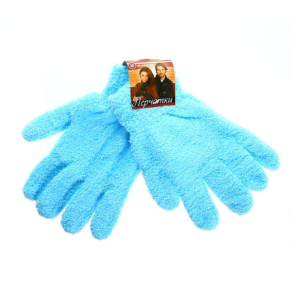 Перчатки махровые ″Зимушка″ цвет голубой h-21см купить оптом и в розницу