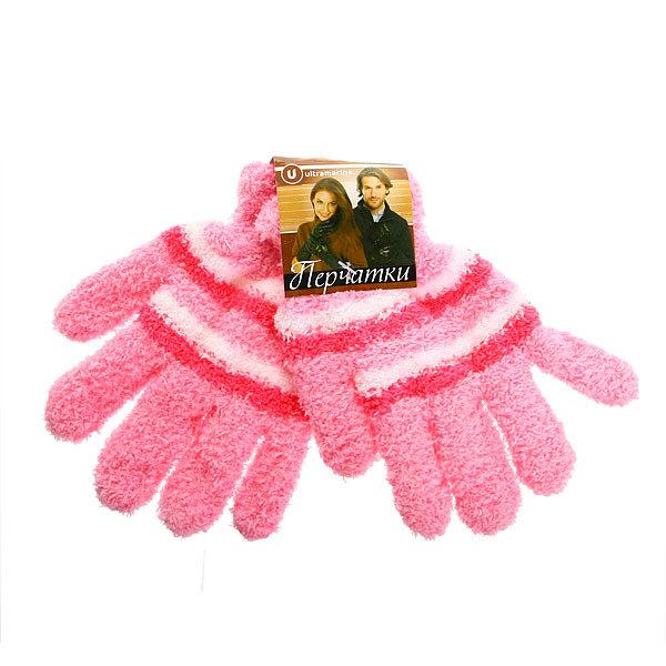 Перчатки махровые ″Зимушка″ в полоску, цвет нежно-розовый h-18см купить оптом и в розницу