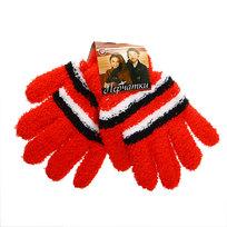 Перчатки женские ″Зимушка″ махровые в полоску, цв. красный 702-8 купить оптом и в розницу