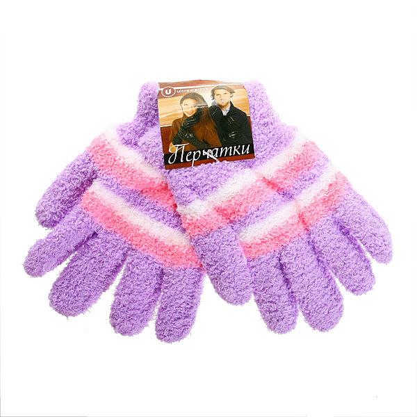 Перчатки махровые ″Зимушка″ в полоску, цвет фиолетовый h-18см купить оптом и в розницу