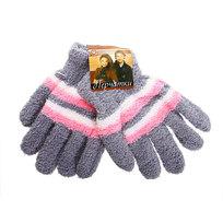 Перчатки женские ″Зимушка″ махровые в полоску, цв. серый 702-8 купить оптом и в розницу