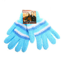 Перчатки женские ″Зимушка″ махровые в полоску, цв. голубой 702-8 купить оптом и в розницу
