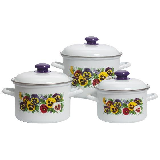 Набор посуды эмалированной 3 предмета ″Фиалки″ (2л, 3л, 4,5л) прямой купить оптом и в розницу