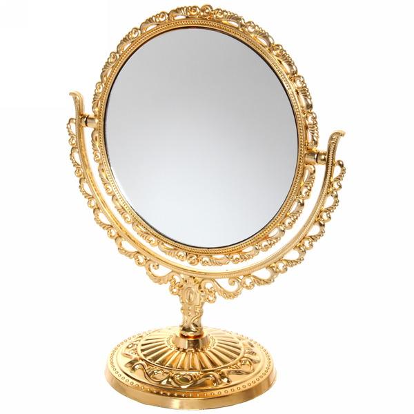 Зеркало настольное в пластиковой оправе ″Версаль - Круг″ цвет золото с розовым отливом, двухстороннее 27см купить оптом и в розницу