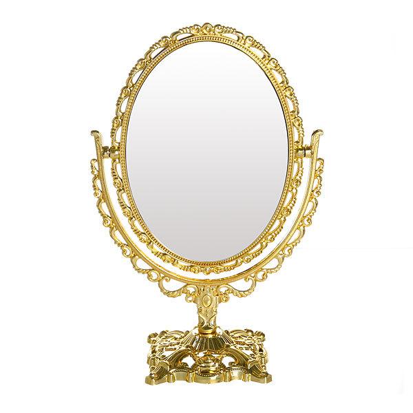 Зеркало настольное в пластиковой оправе ″Версаль - Овал″ цвет золото, двухстороннее 25см. купить оптом и в розницу