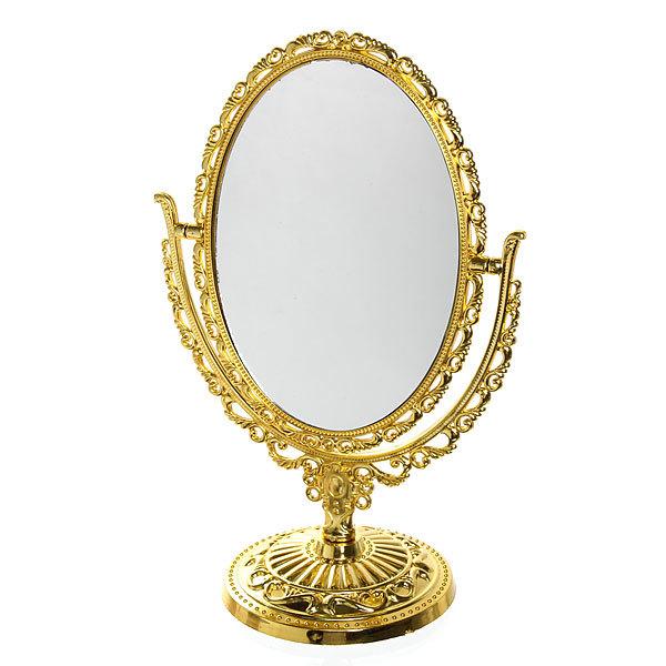 Зеркало настольное в пластиковой оправе ″Версаль - Овал″ цвет золото с розовым отливом, двухстороннее, с увеличением 30см купить оптом и в розницу