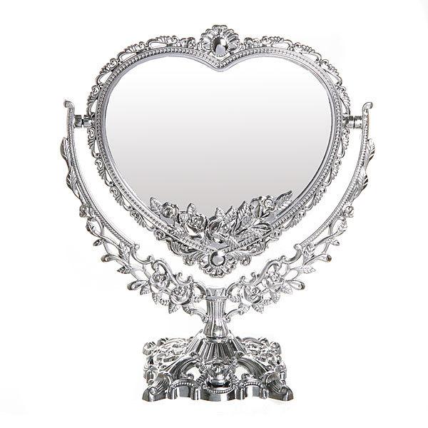 Зеркало настольное ″Версаль″ Сердце серебро 30см 147-13 купить оптом и в розницу