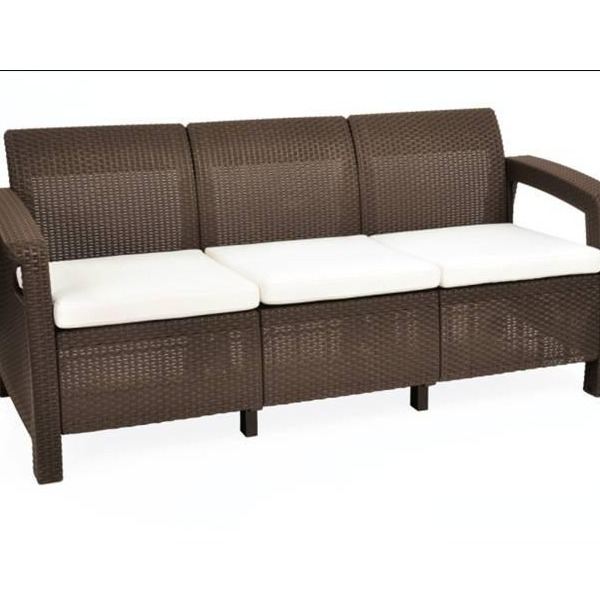Диван трехместный (искусственный ротанг)Corfu love seat maxкоричн.\беж. подушками 182х70х79 купить оптом и в розницу
