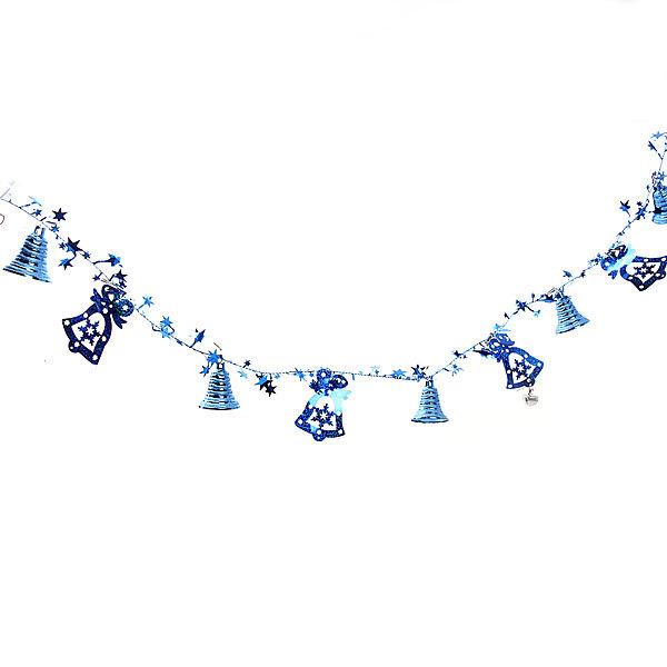 Бусы на ёлку синие 1,5м ″Колокольчики и звездочки″ купить оптом и в розницу