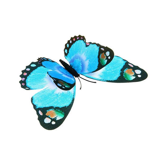 Украшение декоративное 12см Бабочка двойные крылышки блестящая на магните 6706-3 купить оптом и в розницу