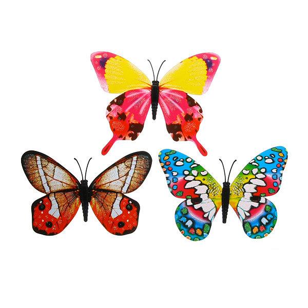 Украшение декоративное 10см Бабочка блестящая на магните 6706-9 купить оптом и в розницу