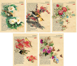 """Тетрадь 48л.кл.скрепка HATBER, """"Цветы и птицы"""", тиснение купить оптом и в розницу"""