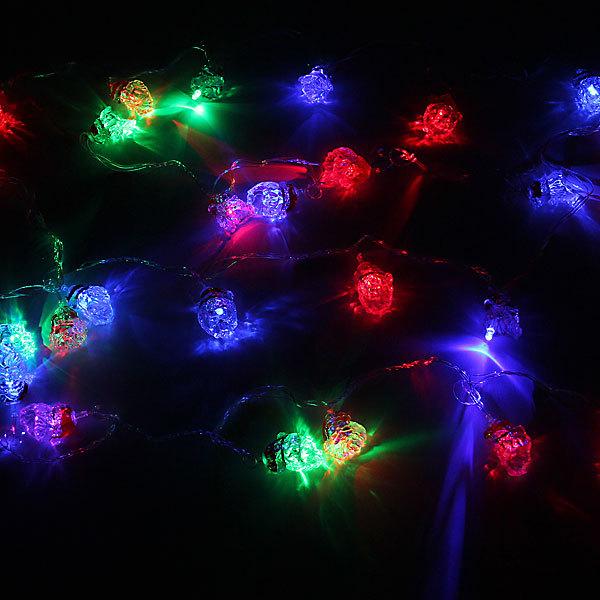 Гирлянда светодиодная 4м, 28 лампы LED, Дед Мороз, RG/RB(красный,зеленый/красный,синий), авторежимы, прозр.пров. купить оптом и в розницу