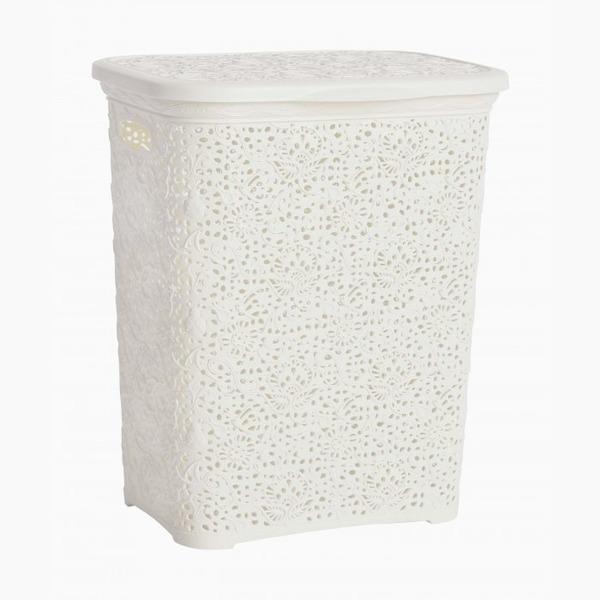 Кружевная корзинка для белья   белый  (412 х 320 х 485 )  40 л.*6 купить оптом и в розницу