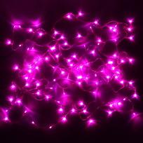 Гирлянда светодиодная 9,5м,100 ламп LED, Розовый, 8 реж, прозр.пров., с возмож. соединен. купить оптом и в розницу