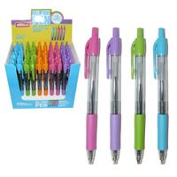 Ручка шар.авт.Tenfon 0,5мм синяя, прозр. корп., цв. грип, ассорти купить оптом и в розницу