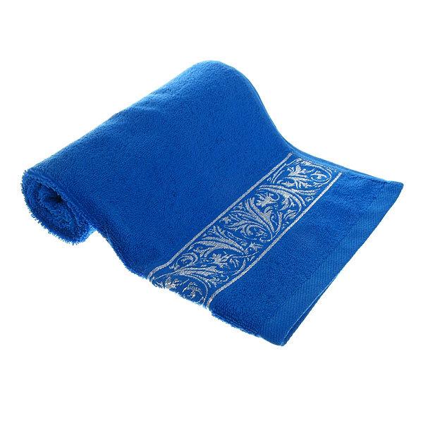 Махровое полотенце 50*90см синее с бордюром купить оптом и в розницу