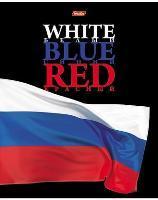 """Тетрадь 48л.кл.скрепка HATBER, """"White Blue Red"""", выб.лак купить оптом и в розницу"""