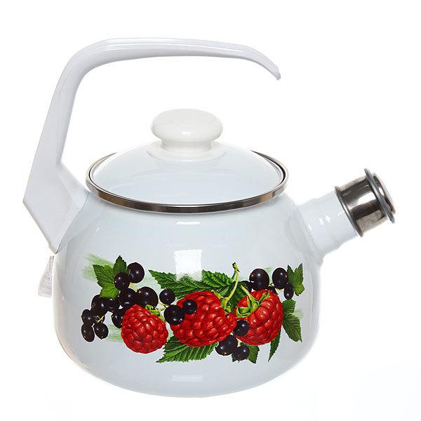 Чайник эмалированный 2,5л со свистком, с рисунком ягоды купить оптом и в розницу