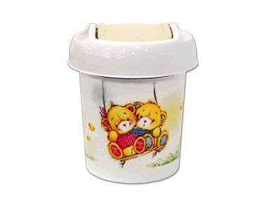 Детская мусорная корзина круглая   1 л Bears слоновая кость *30 купить оптом и в розницу