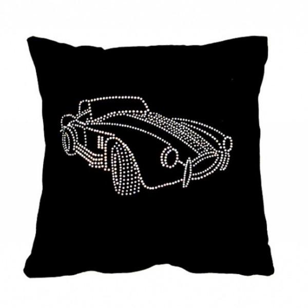 Подушка декоративная 35*35см Шелби черная бархатная со стразами купить оптом и в розницу