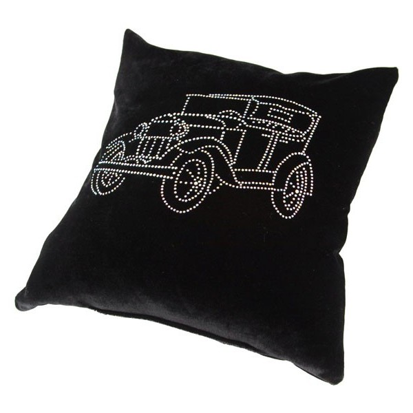 Подушка декоративная 35*35см Автомобиль 1910 черная бархатная со стразами купить оптом и в розницу