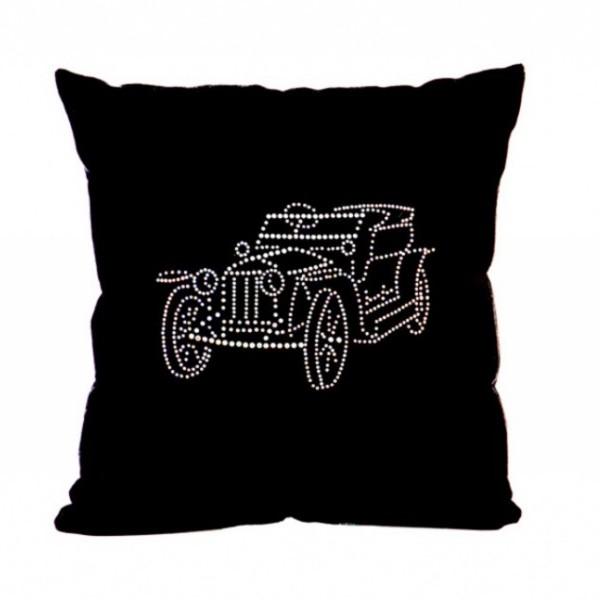 Подушка декоративная 35*35см Роллс-ройс 1912г.черная бархатная со стразами купить оптом и в розницу