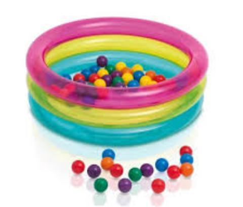 Бассейн надувной детский с мячиками 86*25 см Classic 3-Ring Baby Ball Pit Intex (48674) купить оптом и в розницу