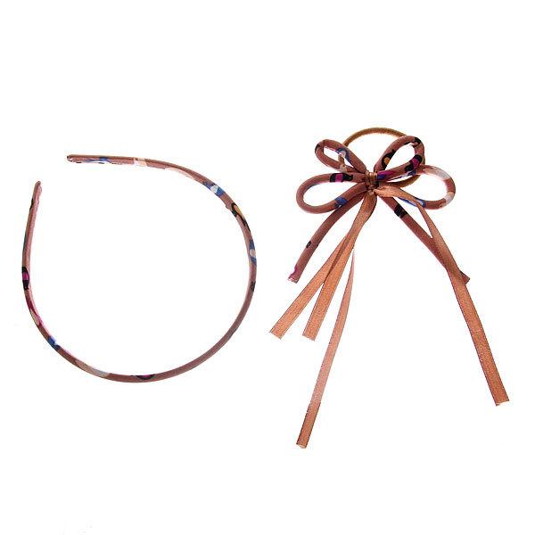 Резинка для волос с ободком в наборе ″Верона″ бантик 080-6 купить оптом и в розницу
