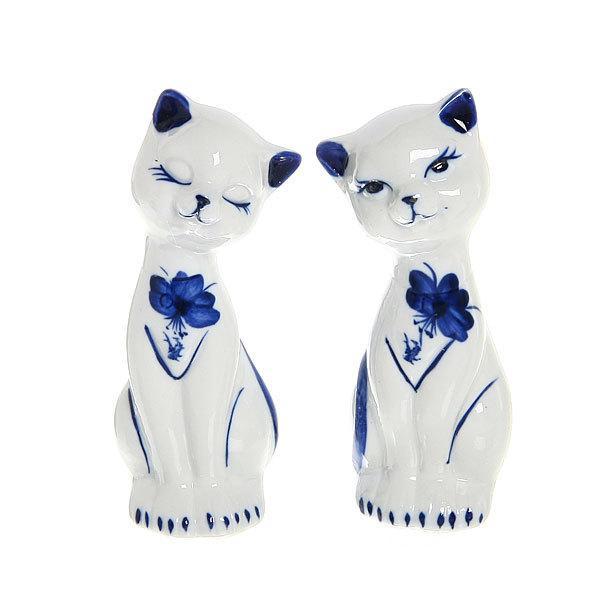 Фигурки керамические набор 2 шт ″Кошечки Гжель″, 12см купить оптом и в розницу